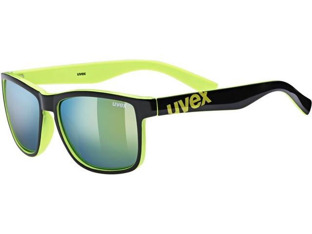 UVEX LGL 39 Gafas, black lime/mirror yellow